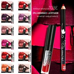 12 Color Semi Matte Lip Liner + Liquid Lip Gloss Kit - Long