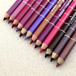 12 Colors Dark Brown Black Red Purple Wood Lip Liner Pencil