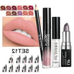 12 Colors Lipgloss + Lip Liner + Scrub Cream + Essence Liqui