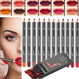 12 Pcs/set Lipstick Pen Waterproof Pencil Lip Liner Long Las
