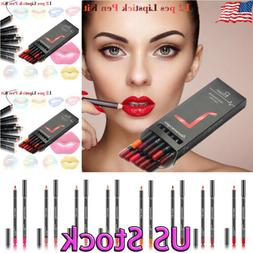 12pcs/Set Waterproof Lipstick Lip Liner Long Lasting Lipline