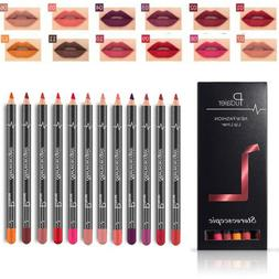 12pcs set waterproof pencil lipstick long lasting