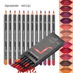 12PCS/Set Waterproof Pencil Lipstick Pen Lip Liner Long Last