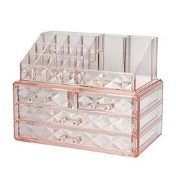 Jewelry and Cosmetic Boxes with Brush Holder - Pink Diamond