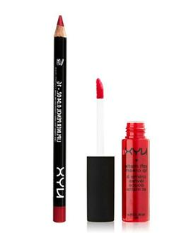 NYX Monte Carlo Lip Cream and Plush Red Lip Liner Pencil - P