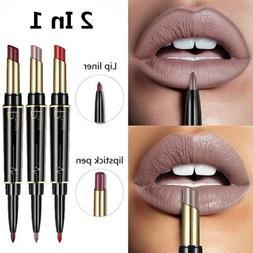 Pudaier Double End Matte lipsticks Lipliner Set Makeup Water