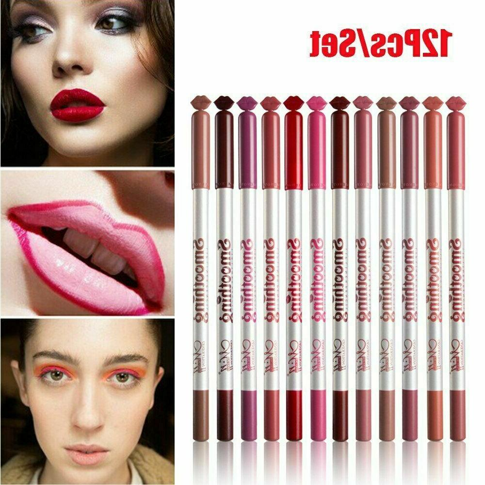 12 colors set lip liner pencil waterproof