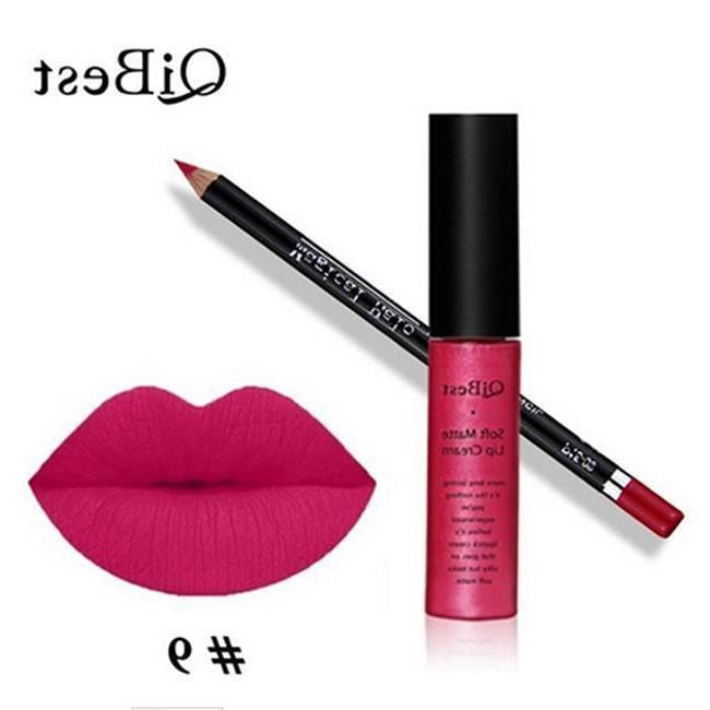 1Set QiBest Lipstick Lip Liner Gloss Matte Liquid