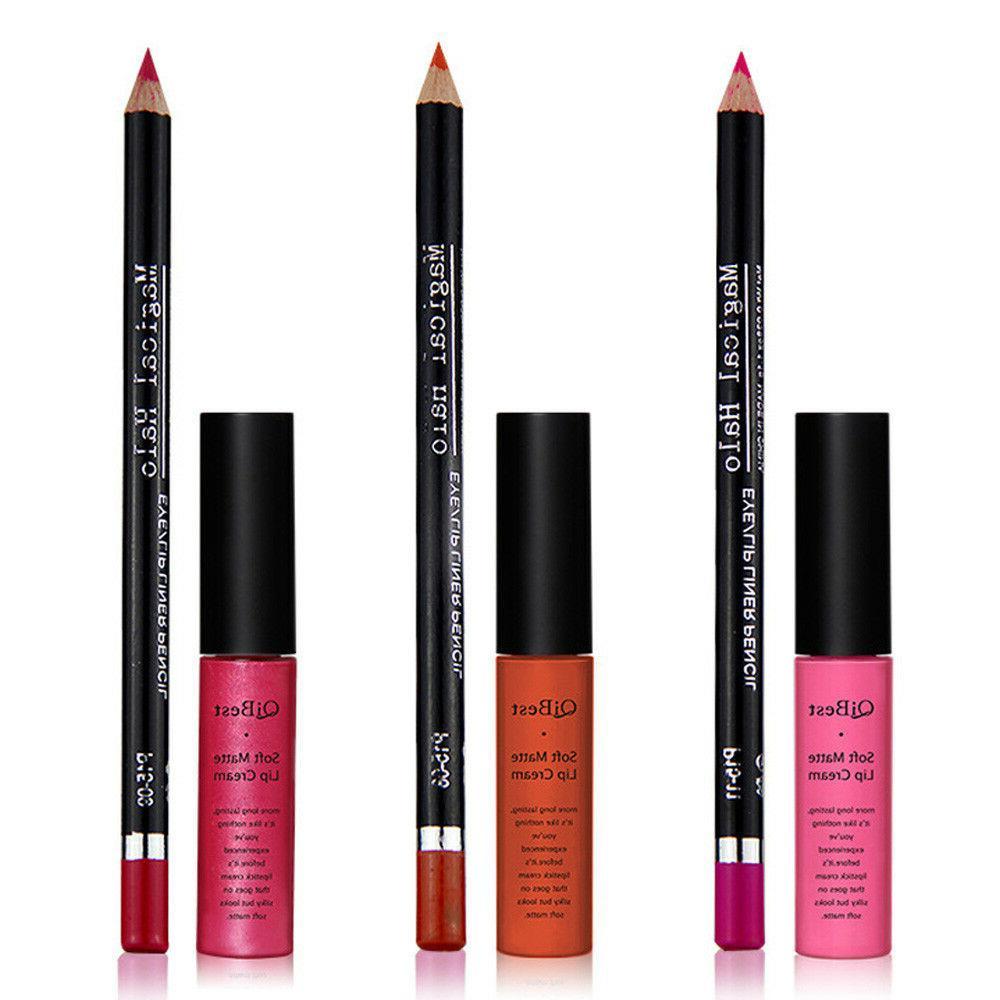 1Set QiBest Lipstick Lip Liner Lip Gloss