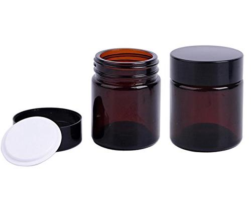 2PCS Brown Upscale Empty Refill Glass Cream Lotion Packing B