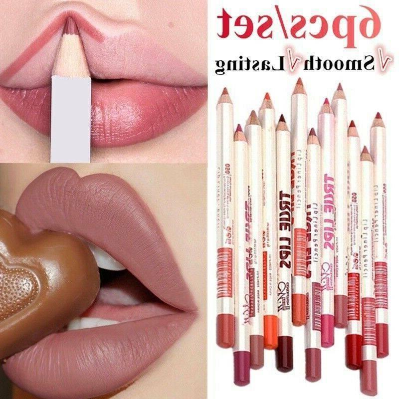 6pcs set lipliner pencil matte lip stick
