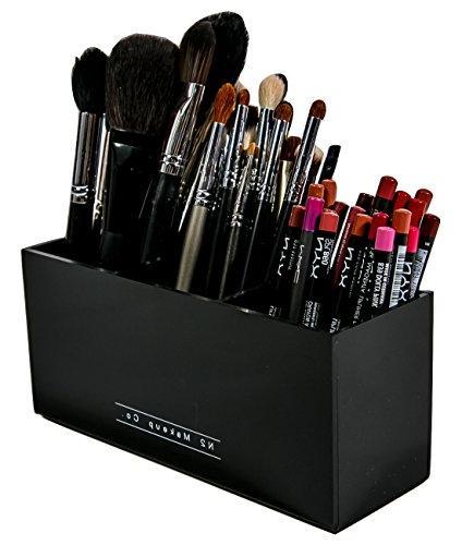 Makeup Brush Holder Organizer - 3 Slot Acrylic Cosmetics Bru