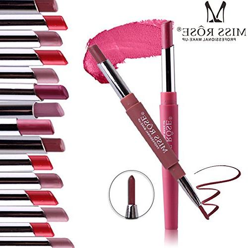 Wensltd Clearance! MISS ROSE Double-end Lasting Lipliner Lip Pencil 8