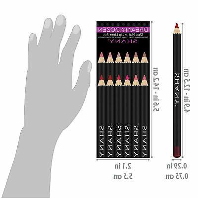 SHANY Dozen Matte Lip Liner Set - 12 Velvet Pens