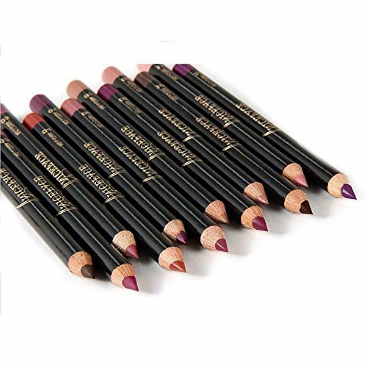 NICEFACE 12 Color Pencil Soft Waterproof Smooth Lip Lipliner Pen