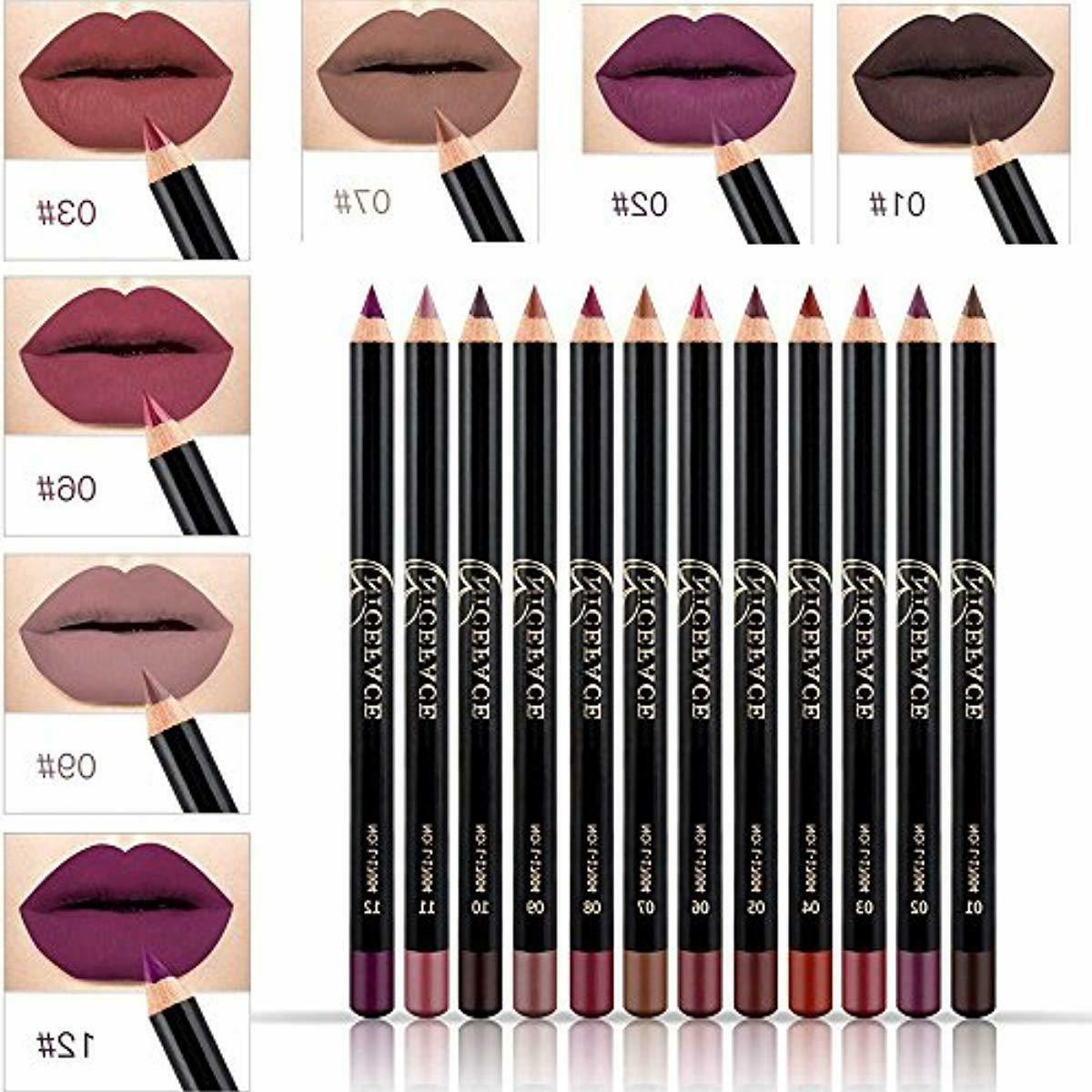niceface 12 color lip pencil soft waterproof