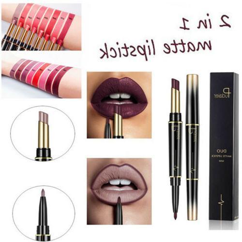 Pudaier Waterproof 2 in 1 Lipstick Stay Gloss Lip Liner