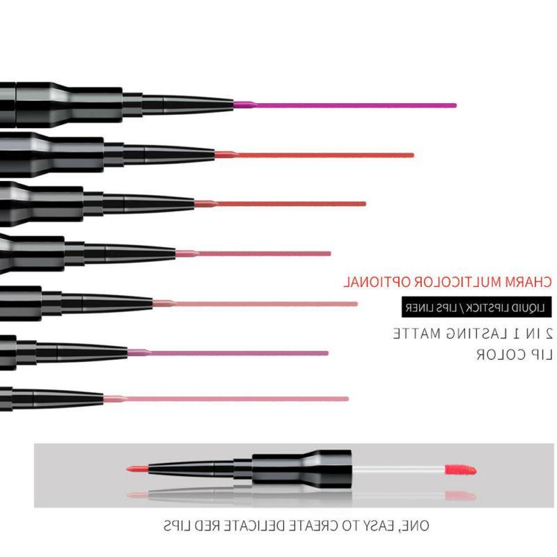QIBEST Double-end Lipliner Waterproof Pencil Lip Gloss