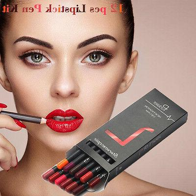 US 12 PCS Lipstick Lasting Lipliner Pencil Set