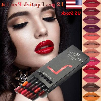 us 12 pcs waterproof lipstick lip liner