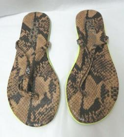 TKEES Lipliners Snake Embossed Leather Embossed Flip Flop Sa
