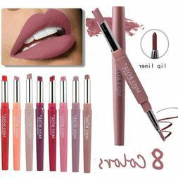 Double-end Waterproof Pencil Lipstick Pen Matte Lip Liner Lo