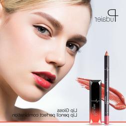 Pudaier Luxury Lip Liner + Lip Liquid Gloss Makeup Set Long-