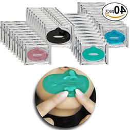 Set of 40pcs Collagen Lip Masks Pads for Dry Lips with Green