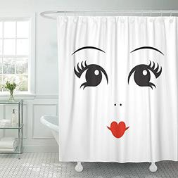Emvency Shower Curtain Polyester 72x72 Inches Cartoon of Dol