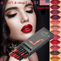 US 12 PCS Waterproof Lipstick Lip Liner Long Lasting Matte L