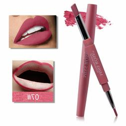 Waterproof Dual Pencil Lipstick Pen Matte Lip Liner Long Las