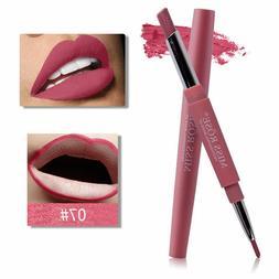 Waterproof Dual Pencil Lipstick Pen Matte Lip Liner Long Las